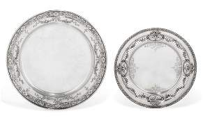 Two American sterling silver circular serving platters