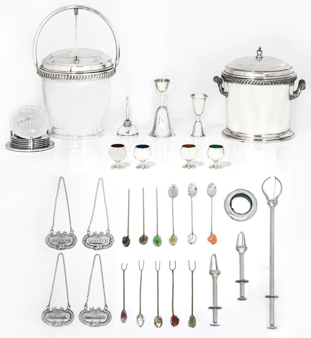 Group of silver, metalware cocktail accessories