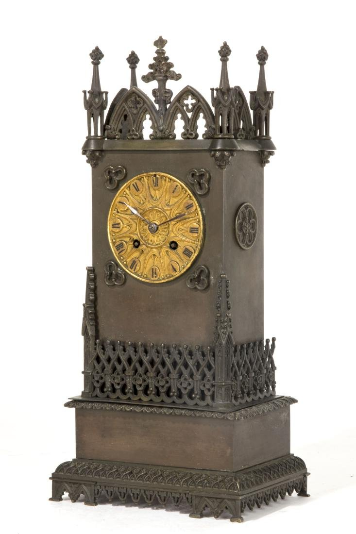 A French Gothic Revival bronze mantel clock - 2