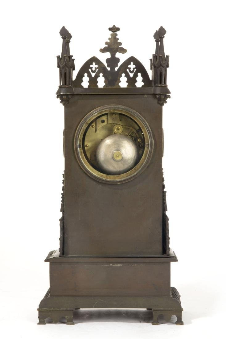 A French Gothic Revival bronze mantel clock - 3