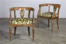Pair Louis XVI style carved beechwood armchairs