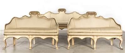 Three Italian Baroque style painted settees