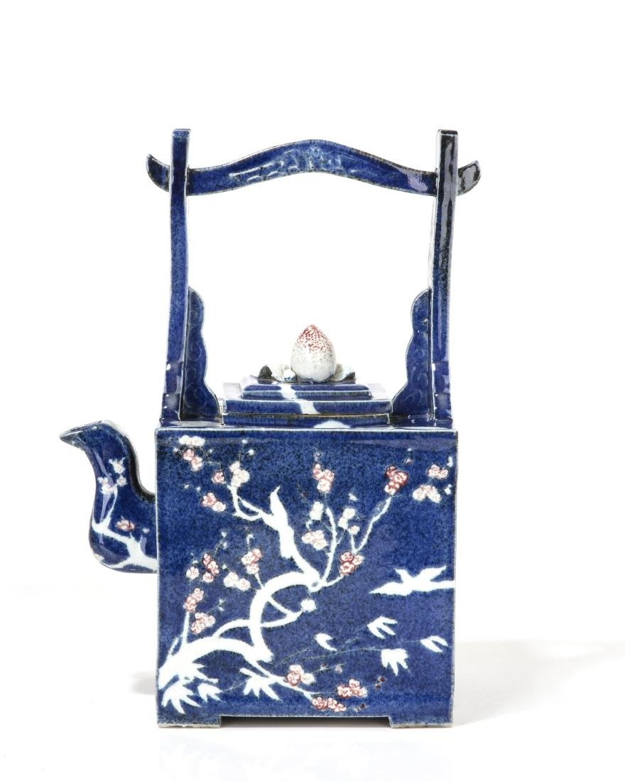 An oversized Japanese blue glazed ceramic teapot - 2