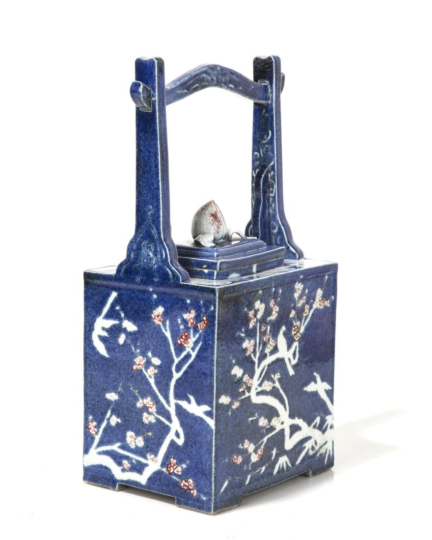 An oversized Japanese blue glazed ceramic teapot - 3