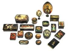Twenty Russian lacquer objects Palekh  Fedoskino