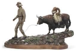Fred Boyer, bronze group: hunter and ox