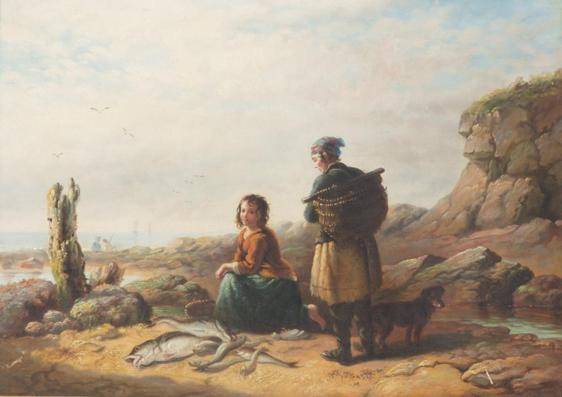 Continental School,  Girls on the seaside, oil