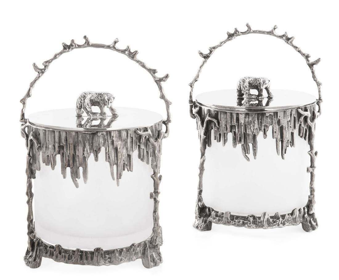 Pair silverplate  mounted polar bear ice buckets