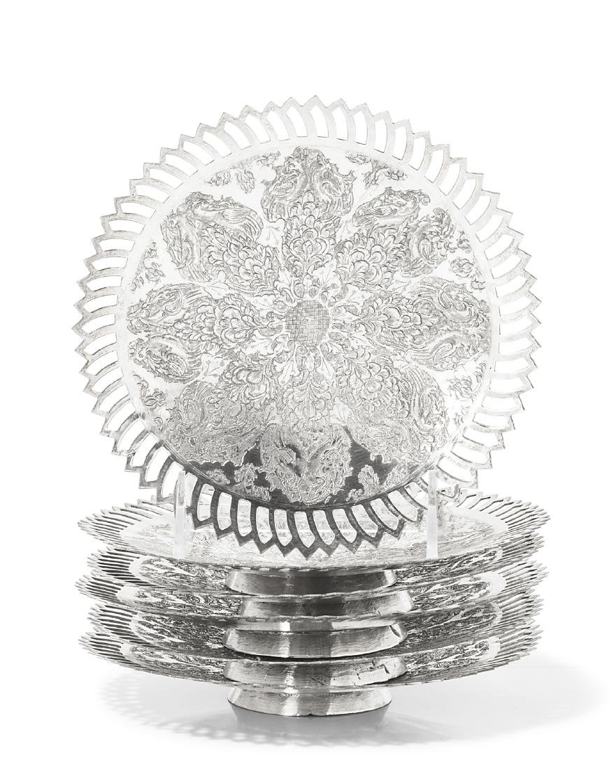 A set of six Persian silver dessert stands