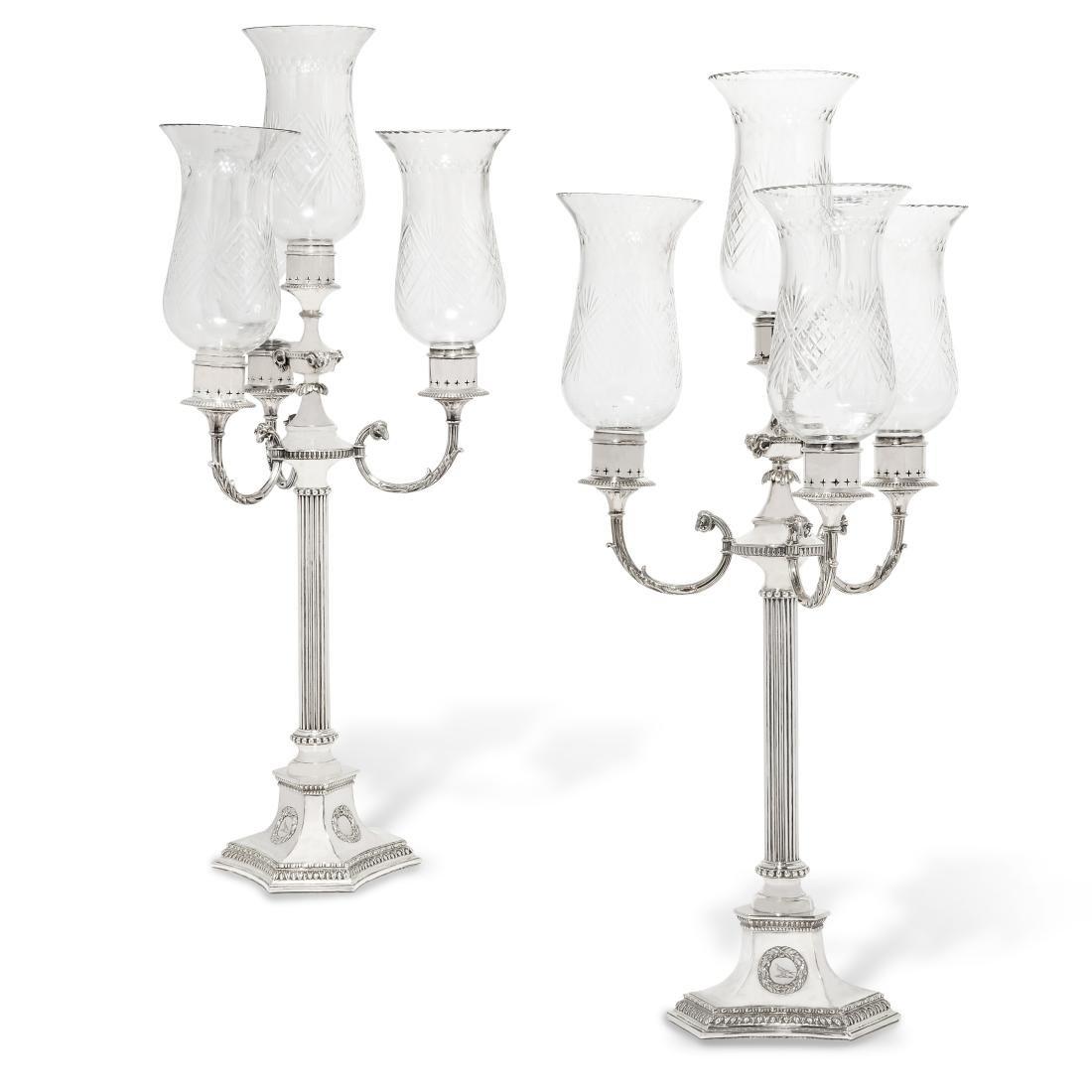 Pair Victorian silverplate four light candelabra