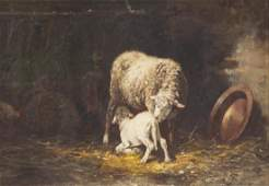 Charles-Emile Jacque, oil painting, ewe & lamb