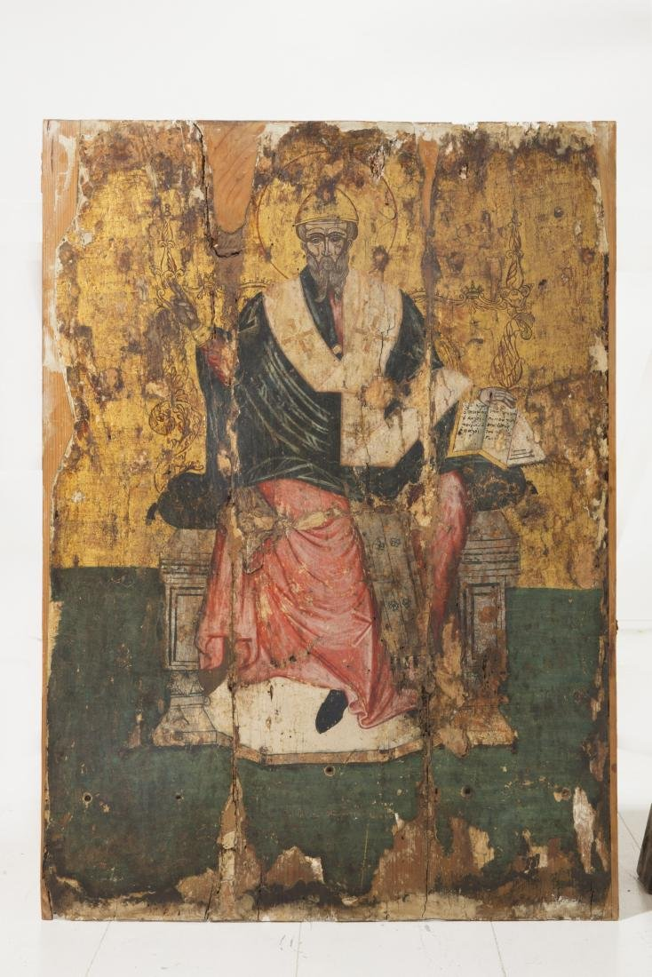 A Greek Orthodox painted icon of St Spyridon