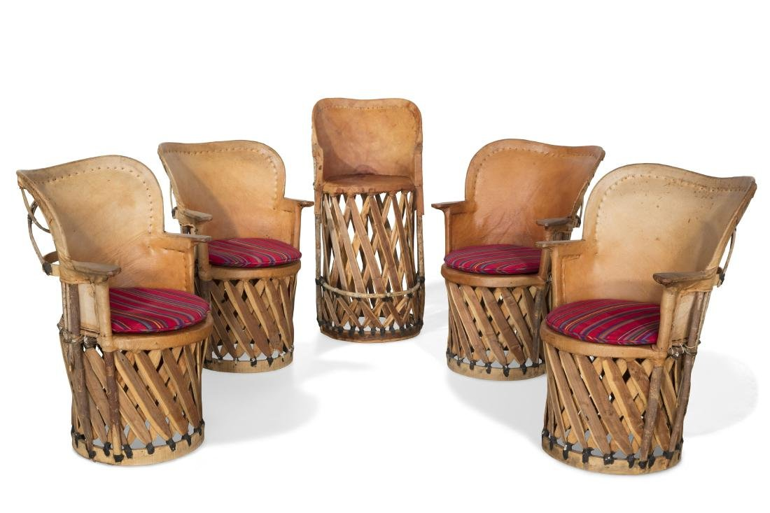A set of four Mexican armchairs and a tall chair
