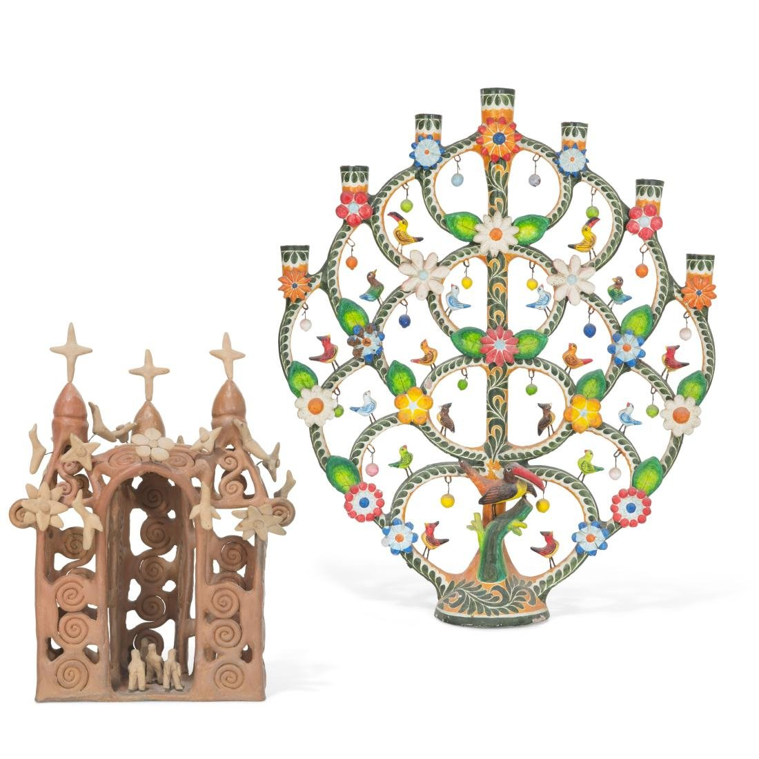 A Mexican pottery candelabrum model of a church