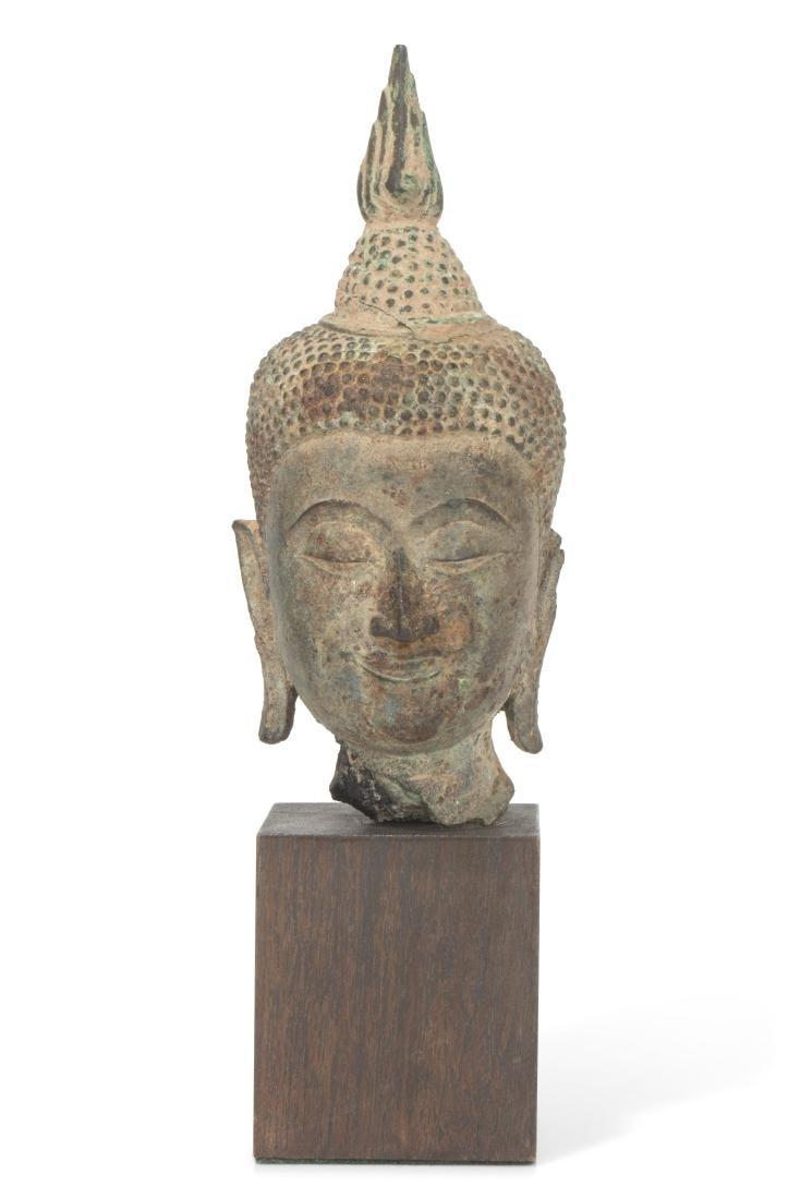 Thai copper alloy Buddha head, 15th/16th century