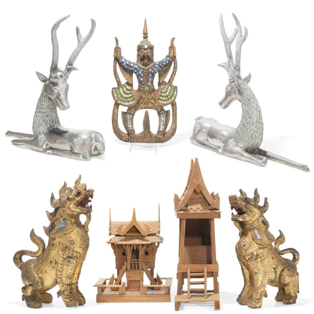 A  collection of Thai figures and accessories