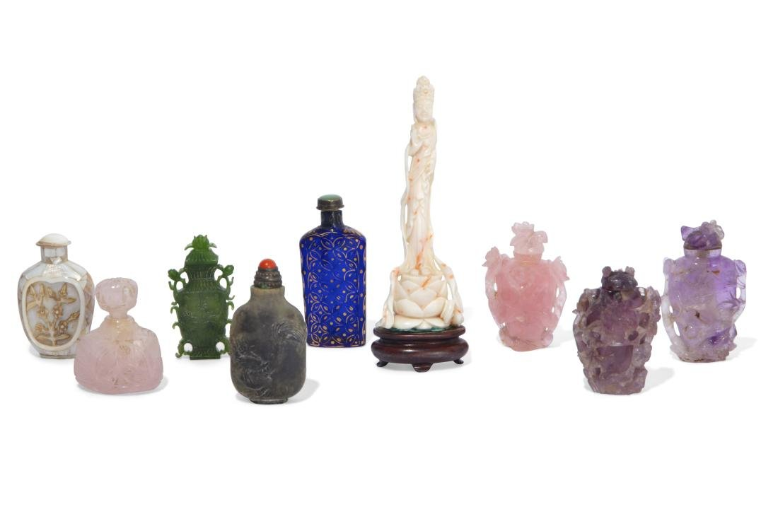 A collection of seven Chinese carved snuff bottles