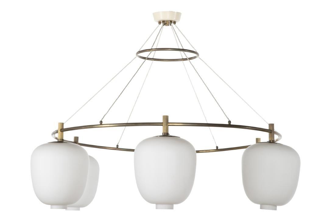 Modern brass glass chandelier, Vilhelm Lauritzen
