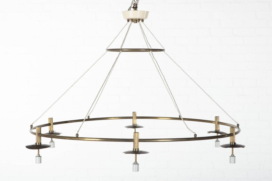 Modern brass glass chandelier, Vilhelm Lauritzen - 2