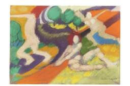 Emilio Cruz Abstract Figures pastel on paper