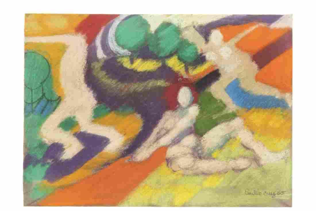Emilio Cruz, Abstract Figures, pastel on paper