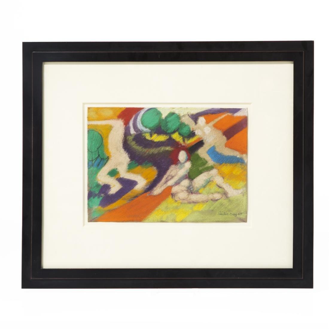 Emilio Cruz, Abstract Figures, pastel on paper - 2