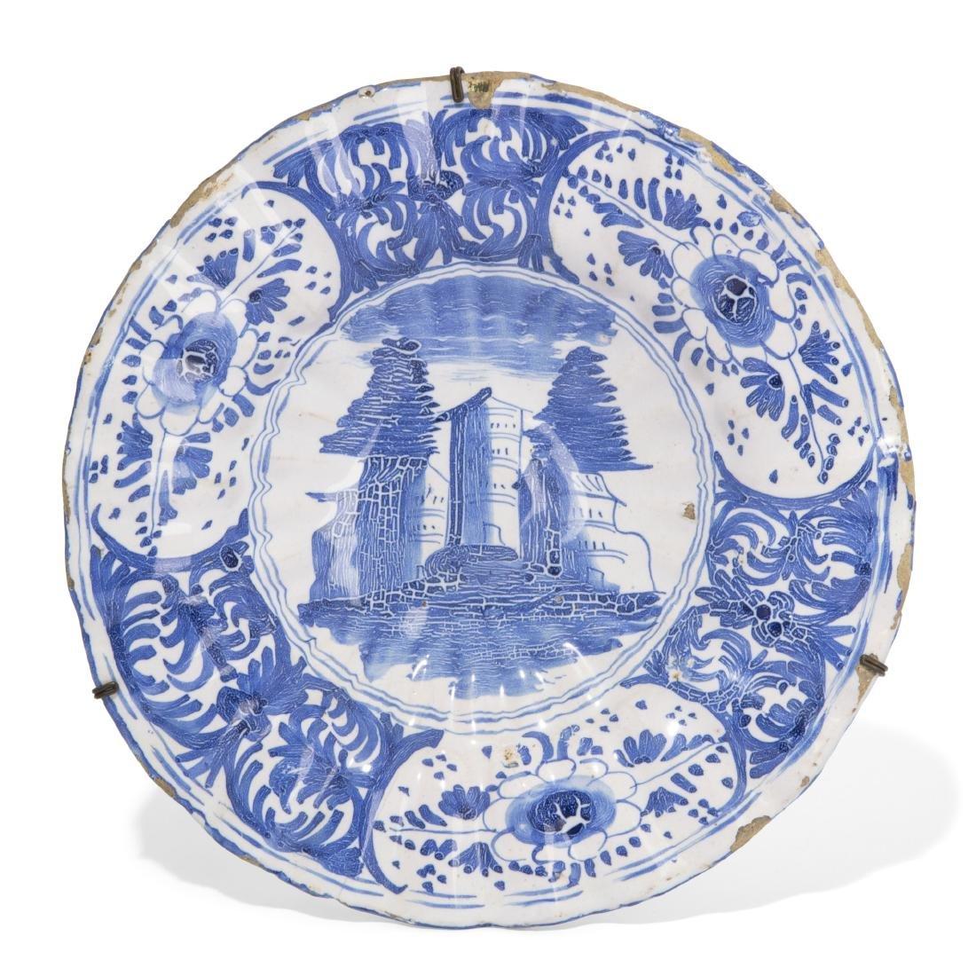 A Continental tin glazed earthenware dish