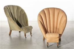 Four scallop form low chairs