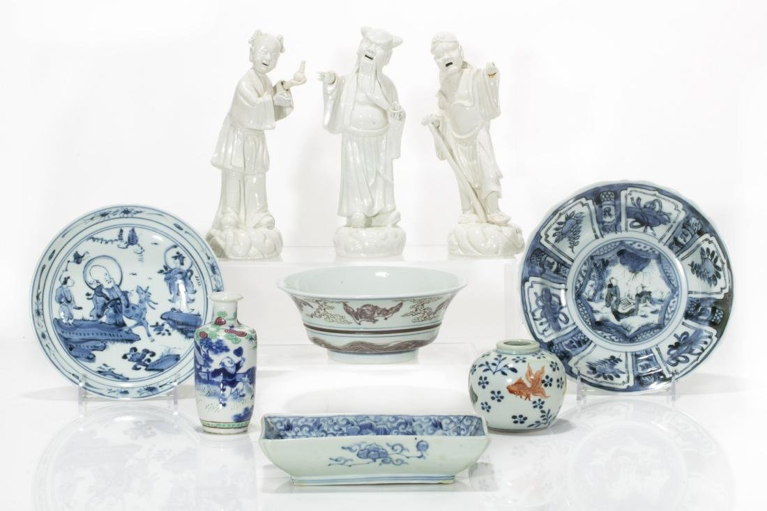 A nine piece group of Chinese porcelain