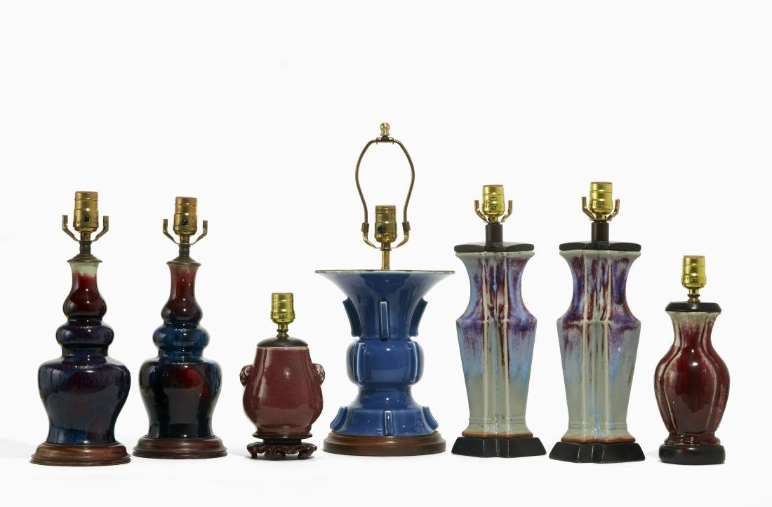 Seven Chinese porcelain vases mounted as lamps
