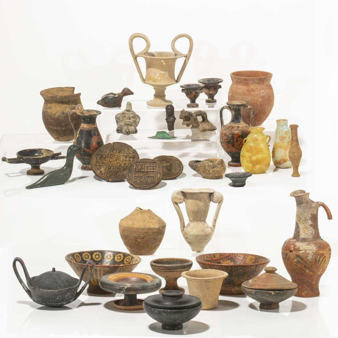 Ancient pottery, glass vessels & wood molds