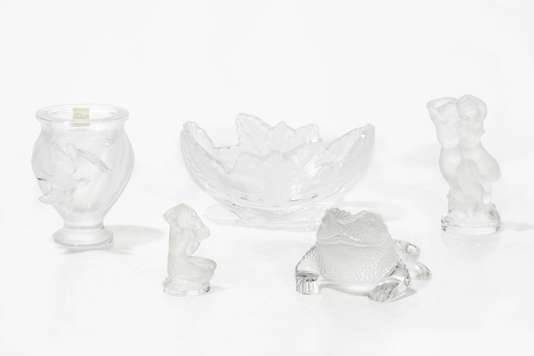 Five Lalique frosted glass articles