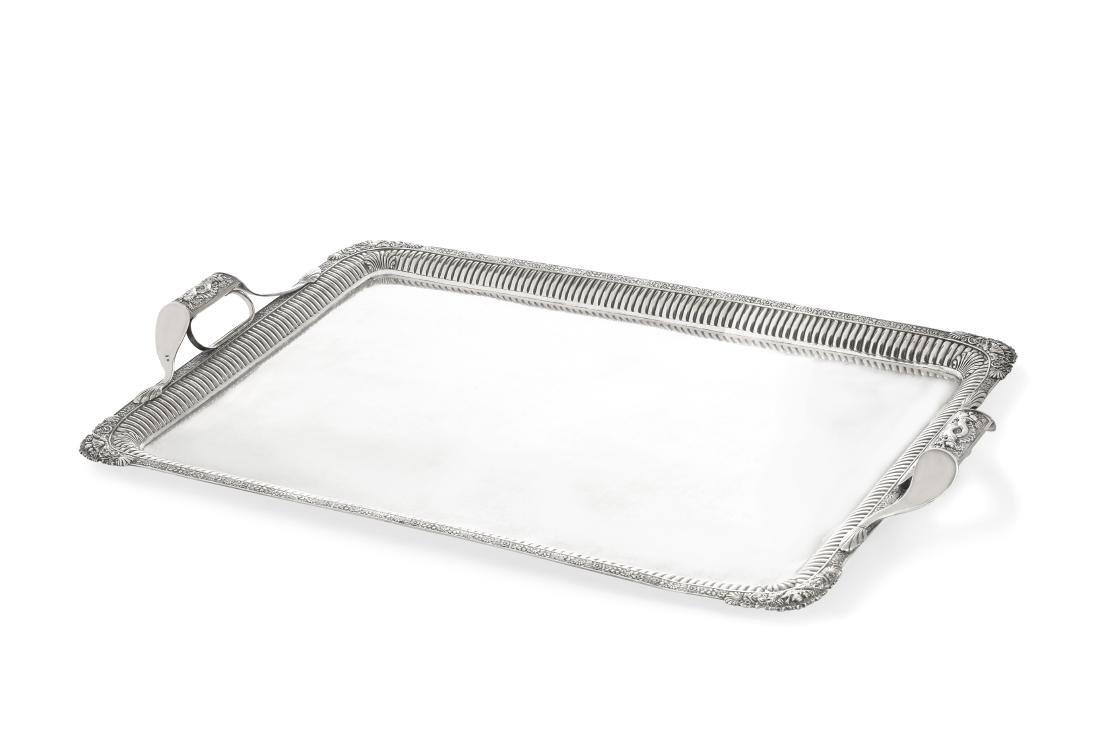 A Russian 84 standard silver tea tray