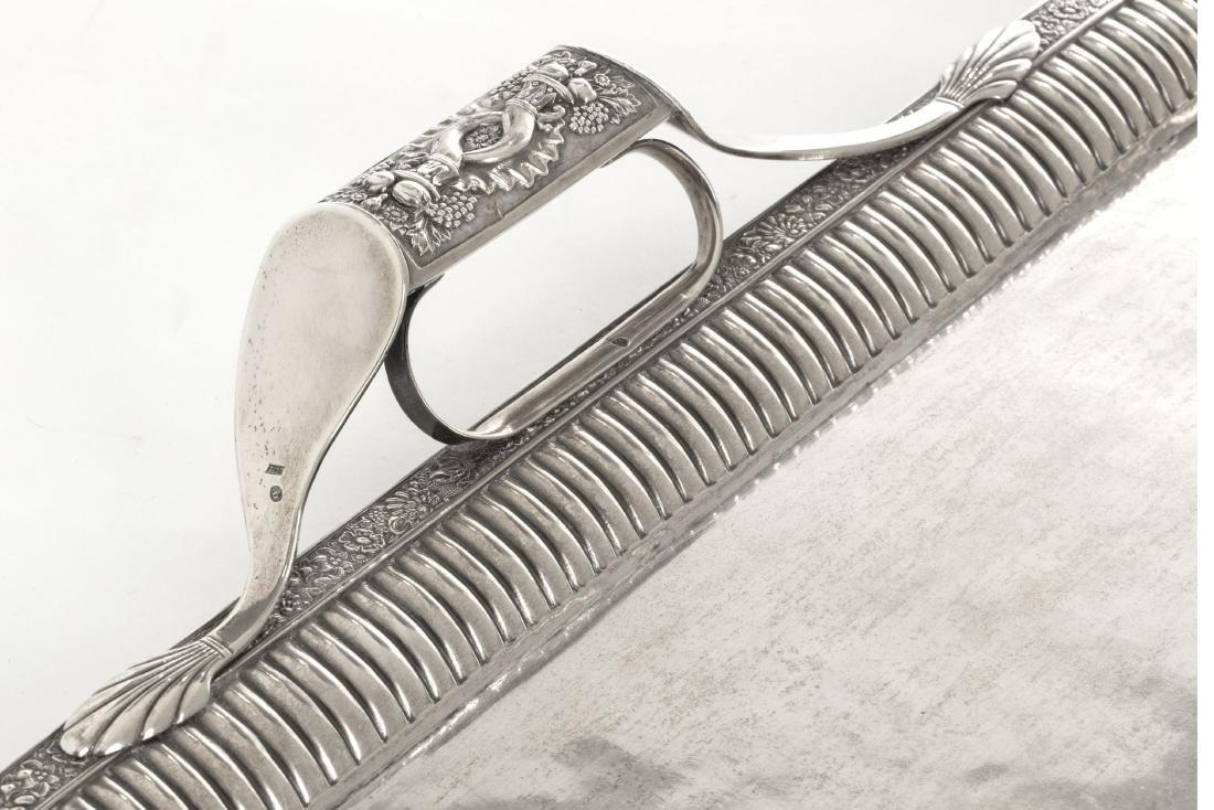 A Russian 84 standard silver tea tray - 2