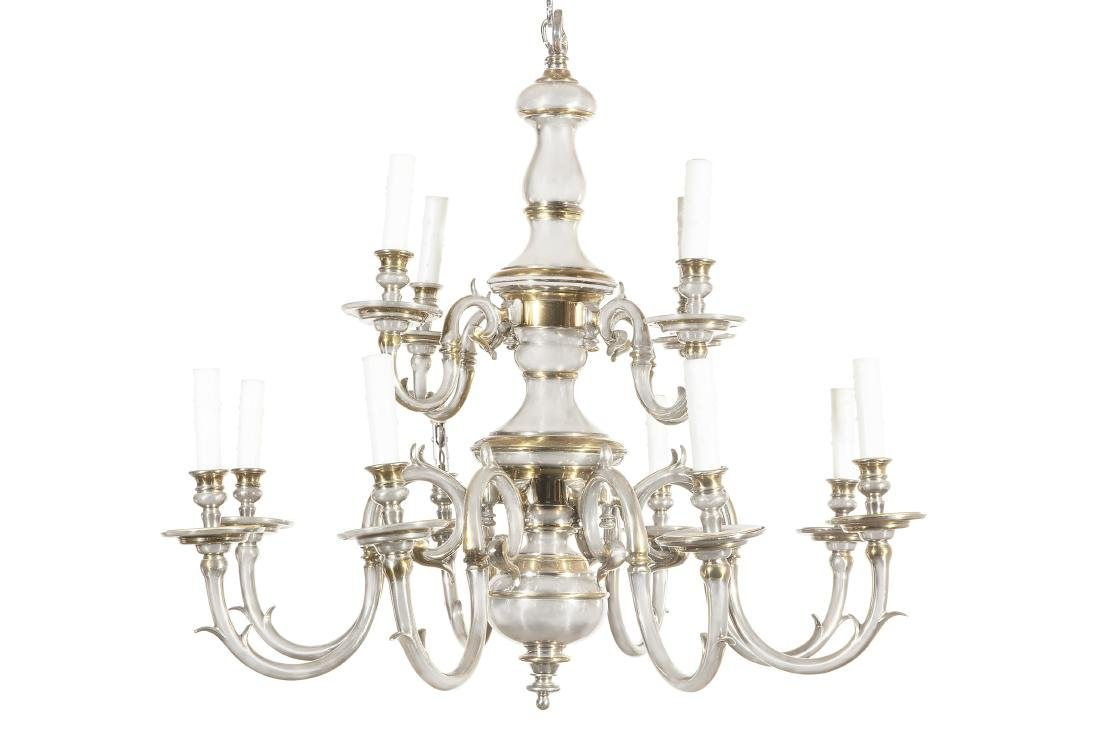 A Dutch Baroque style twelve light chandelier