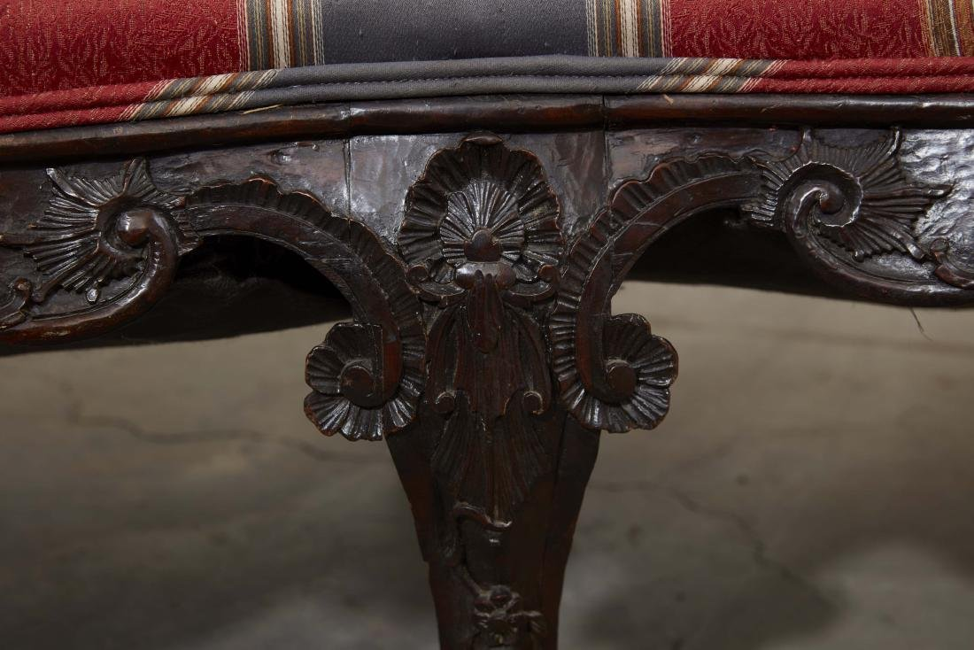 A Continental Rococo carved mahogany settee - 4