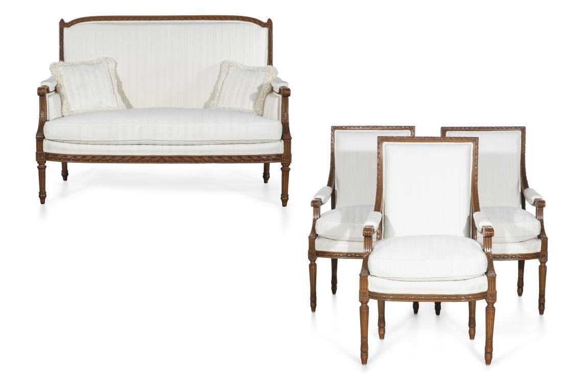 A four piece suite Louis XVI style seat furniture
