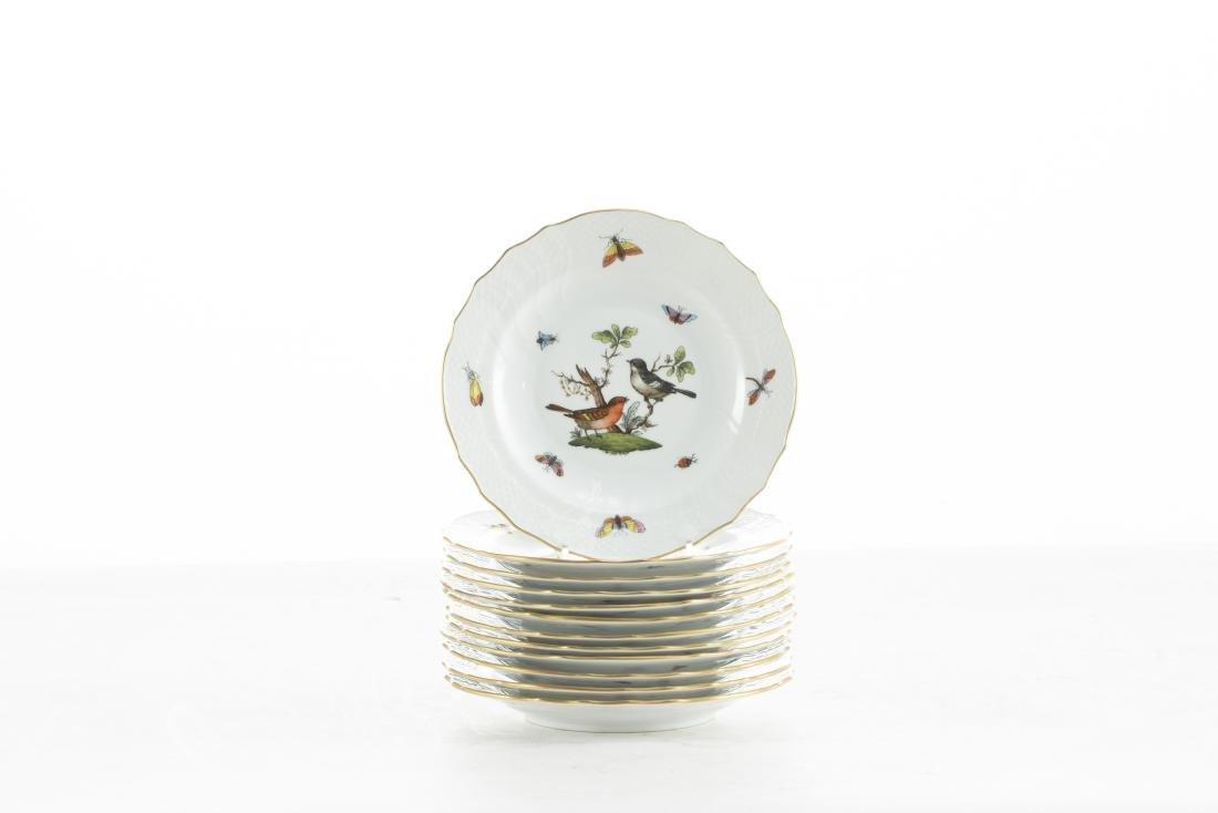 Twelve Herend Rothschild Bird salad plates