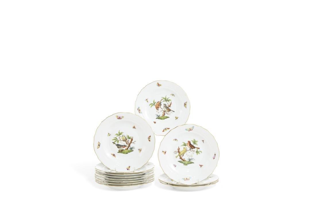 Twelve Herend Rothschild Bird dessert plates