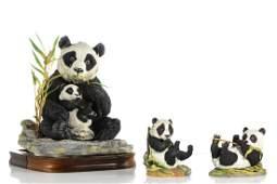 Three Boehm porcelain models of panda bears