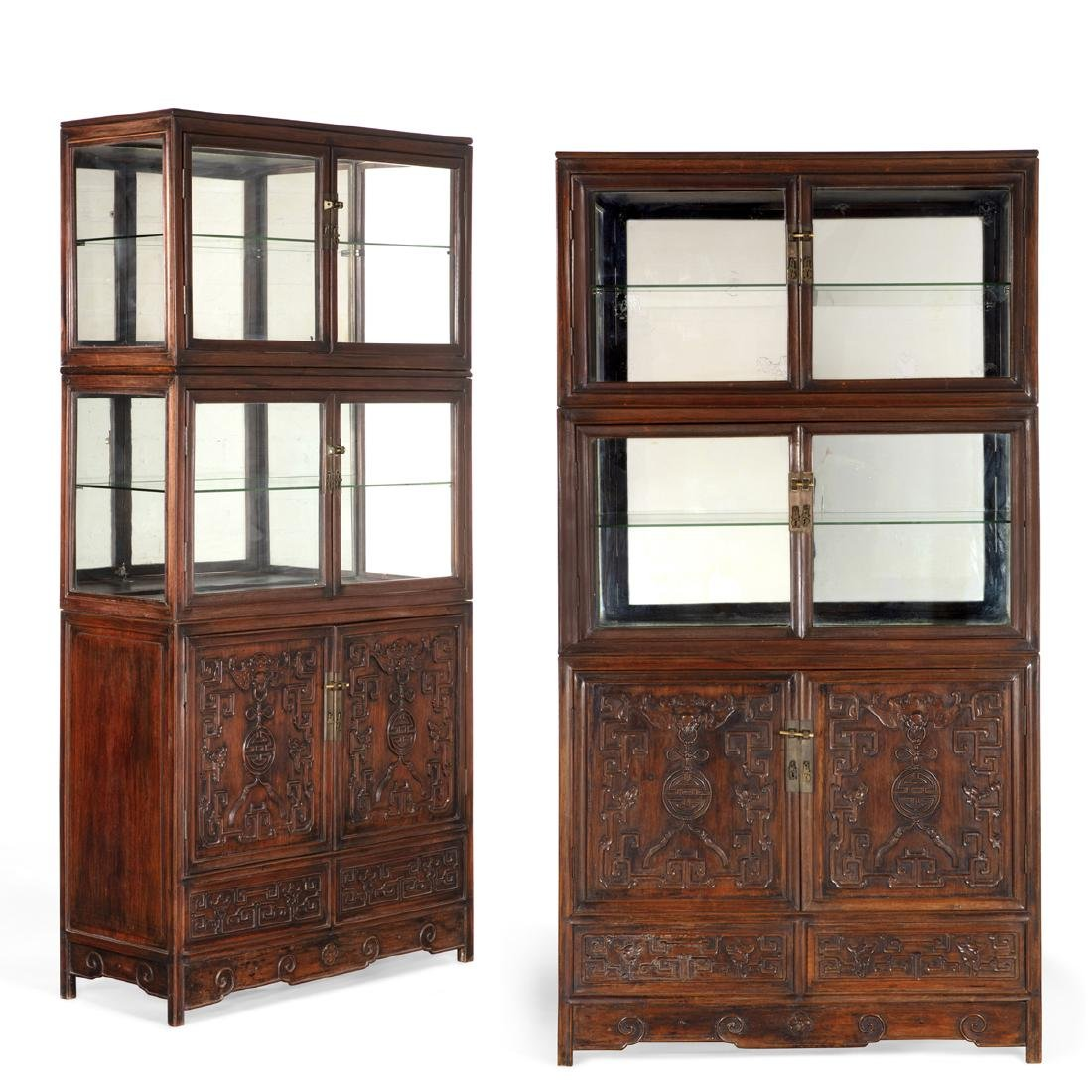 Pair of Chinese carved hardwood display cabinets