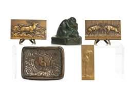 Five Art Nouveau decorative bronze articles