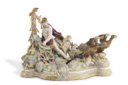 A Meissen porcelain chariot group, late 19th century