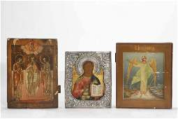 Three Russian icons, silver oklad