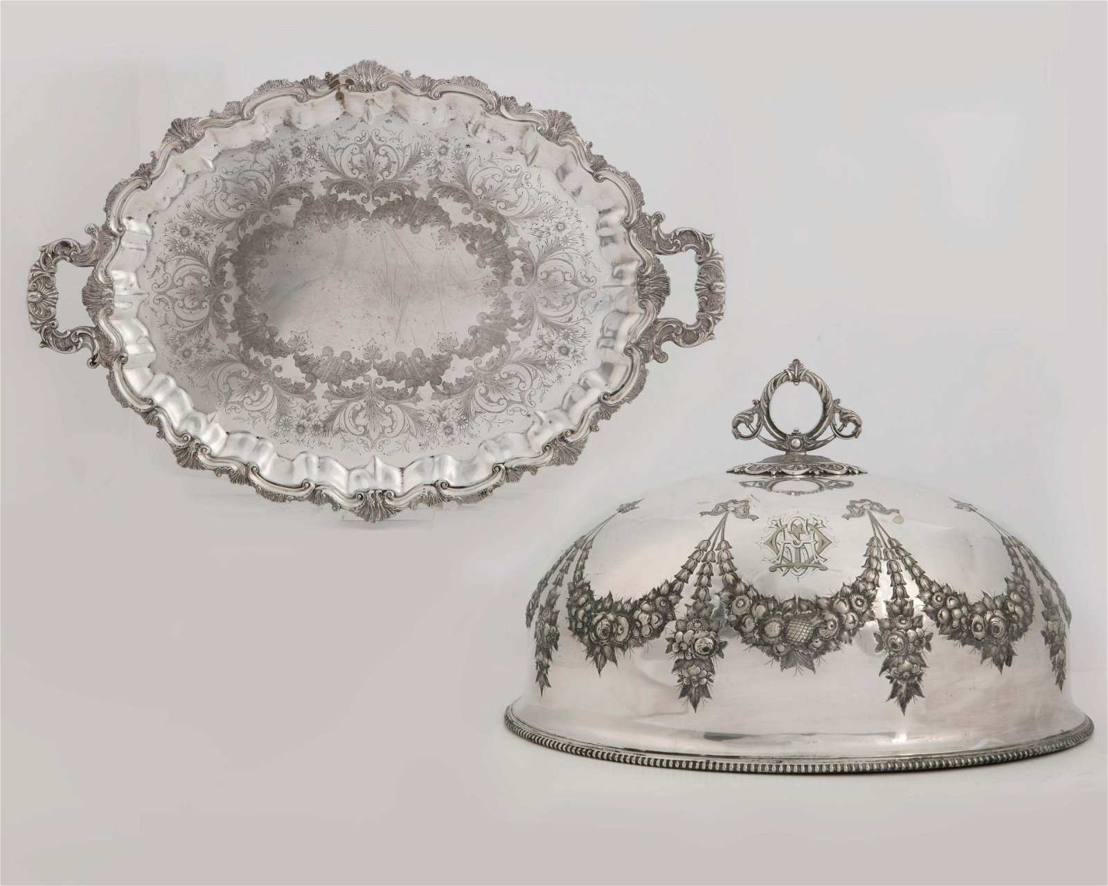 A Victorian silverplate meat dome and a tray