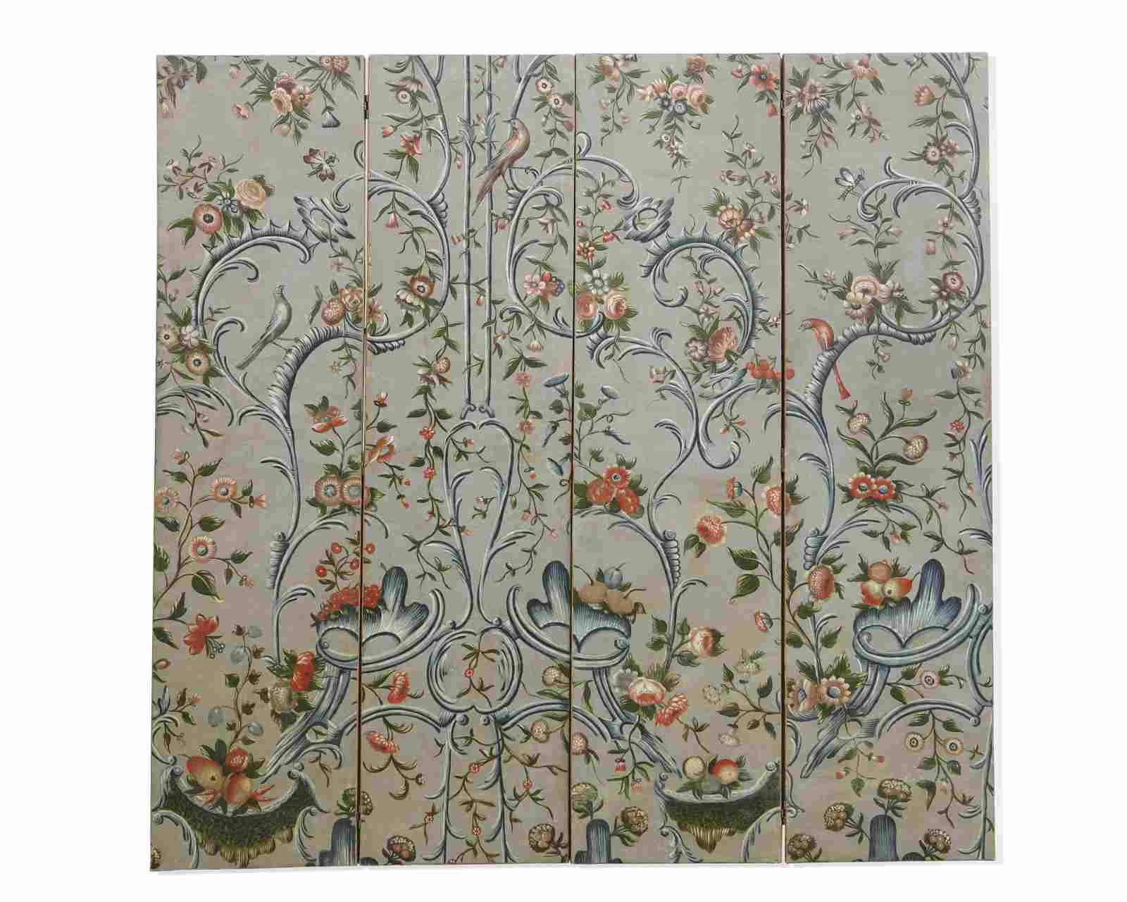 A Rococo style painted canvas floor screen