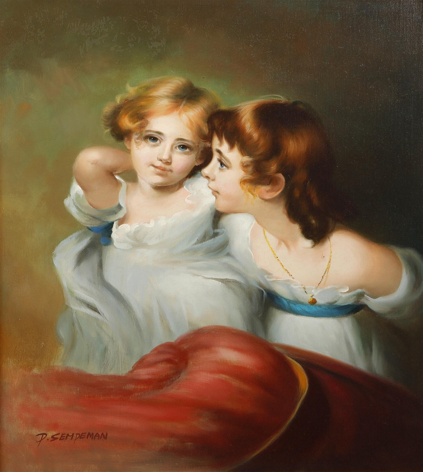 D. Semdeman, oil, Portrait of two young girls