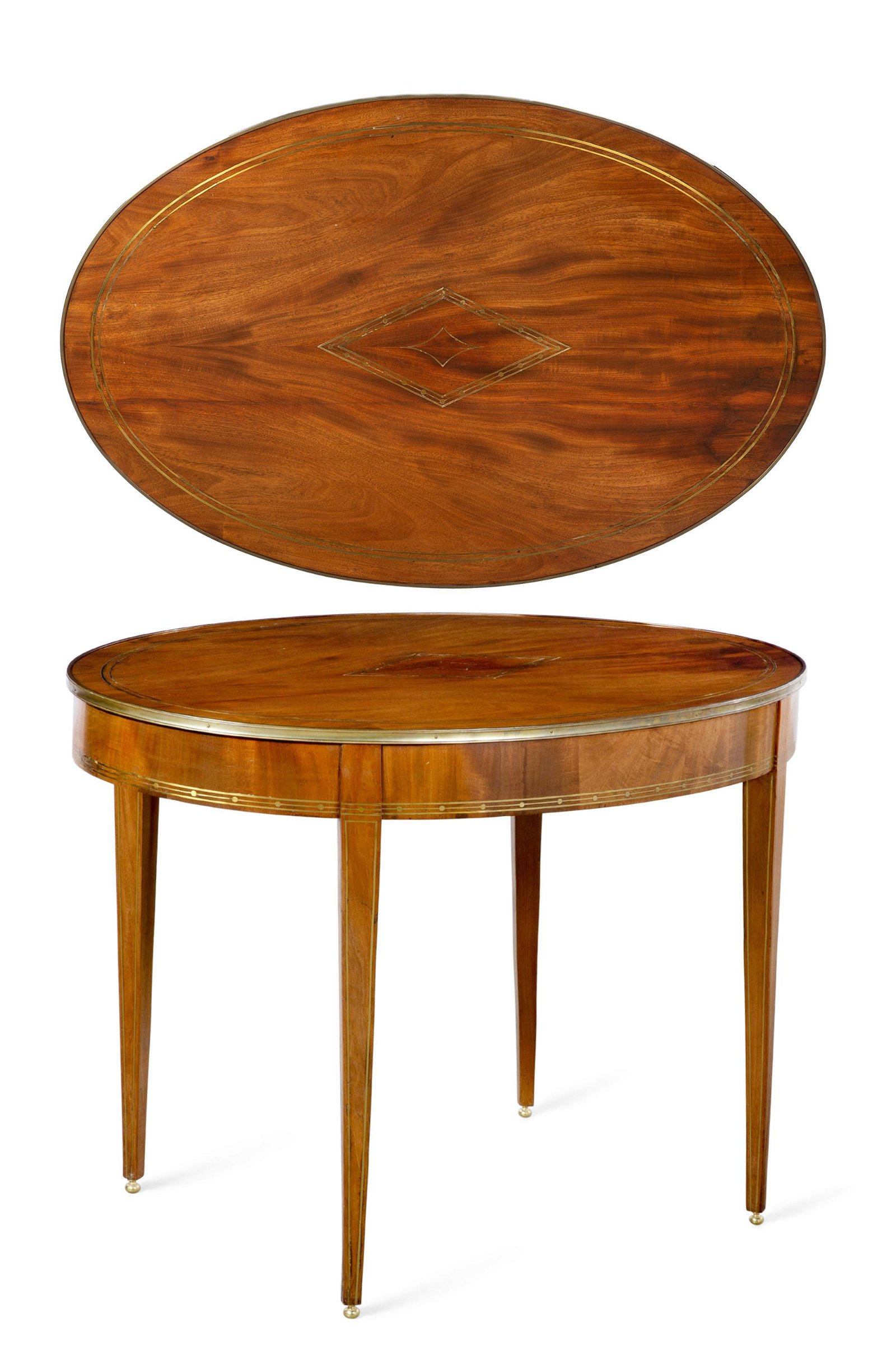 A Baltic Neoclassical mahogany oval center table