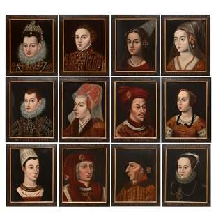 Continental School Twelve portraits of Royals