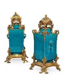 Pair French bronze & porcelain vases, Beurdeley